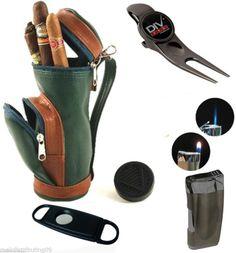 Cigar Caddy Golf Gift Set Mini Golf Bag Humidor Lighter Cutter 6 in 1 Golf Tool