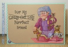 Katy the Cat Lady in Polychromos, Digistamp by Dr.Digi's House of Stamps, Project by Annabel (DT) @Cartway Cards