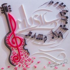Quillography for a musical theme! Quilled Paper Art, Paper Quilling Designs, Quilling Paper Craft, Paper Crafts, Quilling Tutorial, Origami, Diy And Crafts, Arts And Crafts, Diy Y Manualidades