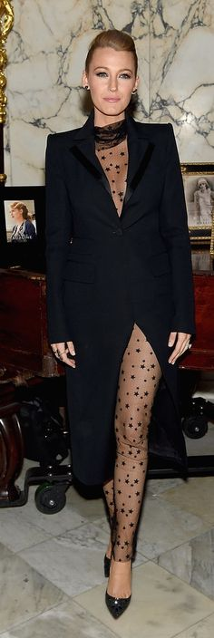Blake Lively looked sexy and glamorous in a black sheer starred Monique Lhuillier bodysuit and tuxedo coat with Christian Louboutin pumps at the Age of Adaline afterparty.