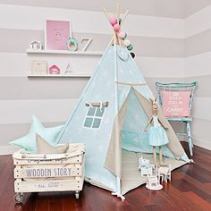 Teepee play tent is a great hiding place for your child at any time of the year. You can enjoy it at home, on the terrace, balcony or garden. Decorate any interior and give comfort.  The tent is lightweight and easy to assemble, so you can freely move and rearrange. Made up of two color fabrics. It has a charming window, and commonly established laps. Inside it has 2 pockets for treasures of your child. It includes free of charge decorative pendant!  For sale is teepee set Sky Beige, which…