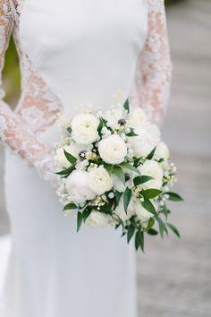 Ranunculus, anemone and greenery wedding bouquet: Romantic + Intimate Nantucket Wedding