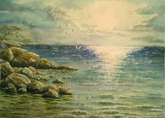 "BLACK FRIDAY 30% OFF! FREE SHIPPING! Original watercolor #painting ""Sea"", original painting, painting seascape, painting ocean, painting coastal,  size 12""x16"" (30x40 cm).  ... #christmas #artforsale #interior #walldecor #traveling #landscape #waves #sun"