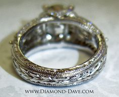 Beautiful hand engraved white gold ring by www.Diamond-Dave.com
