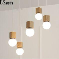 Cheap Roble moderna luces colgantes de madera Vintage colorido cuerda de madera…