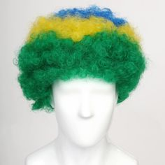 The Brazil Afro Wig for Football/Soccer Sports Fans from FlagWigs.com