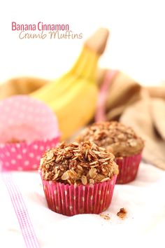 A delicious and moist classic banana muffin with added cinnamon and crumb topping. These Banana Cinnamon Crumb Muffins are also gluten-free and lightened-up. Perfect for weekday breakfasts or snacking.