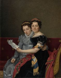 """Jacques-Louis David, """"Portrait of the Sister Zénaïde and Charlotte Bonaparte,"""" 1821. Napoleon's nieces hold a letter written by their father, who was exiled in the United States after Napoleon's fall from power. If you look closely, you can see a Philadelphia address on the letter!"""