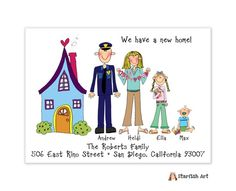 Starfish Art Horizontal Blue House Moving Card