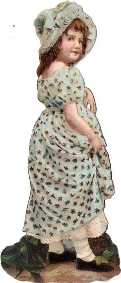 Oblaten Glanzbild scrap die cut chromo Kind child 12,5 cm Hut hat
