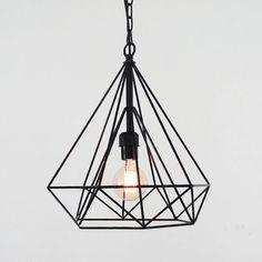 Diamond wire cage pendant light / Geometric minimalist / warehouse industrial / loft