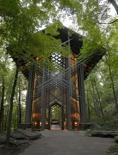 Thorncrown Chapel, Eureka Springs.  Love the way the light seeps through the architecture, what about candles