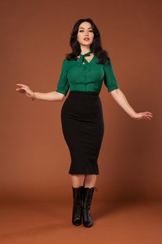 Laura Byrnes Midi Ponte Skirt in Black | Vintage Style Midi Skirt | Pinup Girl Clothing