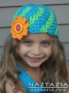 Free Pattern for a Crochet Spiral Striped Hat - Hats for Girls with a Flower by Crochet Chiq - Crocheted by Donna Wolfe from Naztazia