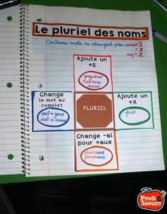 Règles de grammaire: Formation du pluriel en cahier interactif // FRANÇAIS French Education, Education And Literacy, Teaching French Immersion, Languages Online, Foreign Languages, French Grammar, Core French, French Classroom, French School