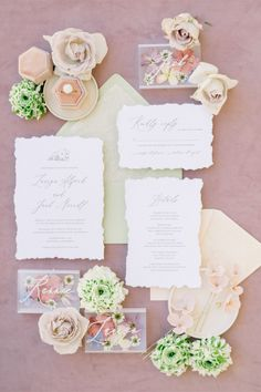 """From the editorial """"You'd Never Believe This Tuscan Inspired Venue That Recently Opened to the Public Is Actually in LA."""" This invitation suite is as dreamy as it gets! Head to SMP for more romantic details from this stunning shoot! LBB Photographer: @etherandsmith #stylemepretty #weddinginvitation #weddinginvite #invitationsuite #flatlay #flatlayinspiration"""