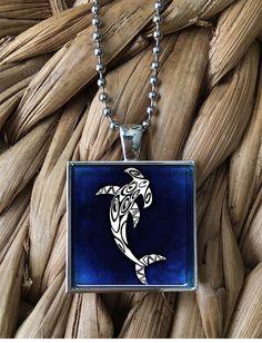 Stylized Hammerhead Pendant Necklace by MoonPoppyDesigns on Etsy