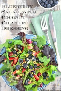 Blueberry Salad with Coconut Cilantro Dressing TheHealthyApple.com #glutenfree #recipe #healthy