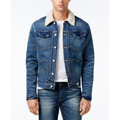 c4fd4851a41b Guess Men s Denim Jacket with Faux-Fur Collar (€125) ❤ liked on