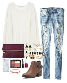 """""""Ripped jeans & Marsala clutch"""" by classycathleen ❤ liked on Polyvore featuring moda, American Eagle Outfitters, Century Seven, Clare V., House of Harlow 1960, Boohoo, Aéropostale, Olivia Burton, Kendra Scott e YooLa"""