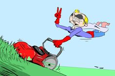 'The Dark Hero' This illustartion shows that even superheros have to mow the lawn! Although, they do have a fun way of doing it  High quality Giclee prints available from £14.95. Framed options available. http://artdoodles.co.uk/the-dark-hero-13745-p.asp