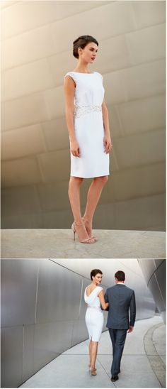 The perfect little white dress for a romantic rehearsal dinner or reception. | By A-list red-carpet designer Pamella Roland. #whitedress