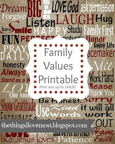 Family Values Printable - www.thethingsilovemost.com