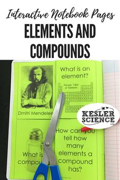 Identify the importance of key scientists and define elements and compounds in this foldable. Perfect for taking notes during a chemistry lesson or introductory class. Turn science notebooks into a fun, interactive, hands-on learning experience for your middle school or high school students! Grades 5th 6th 7th 8th 9th 10th Teaching Chemistry, Chemistry Lessons, Science Lessons, Life Science, Ap Chemistry, Biology Teacher, Math Teacher, Data Science, 8th Grade Science