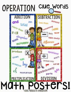 Math CLUE Words I have created quite a few word problem resources over the years, but wanted to share a few free tools to go along with them. The first freebie I've created are math clue words… Math Charts, Math Anchor Charts, Math Posters Free, Math Key Words, Word Poster, Math Groups, Math Word Problems, Life Problems, 1st Grade Math