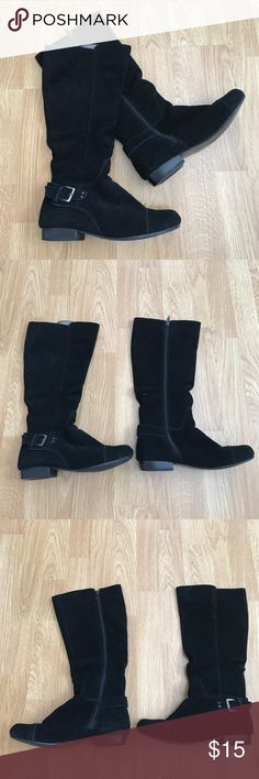 Black suede boots Flats! Great condition! Shoes Combat & Moto Boots