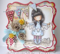 Jane's Lovely Cards : A Very Gorjuss Gorjuss Girl! Whimsy Stamps, Hobby House, Mini Albums, Paper Roses, Cute Cards, Pretty Cards, Copics, Magnolias, Scrapbook Cards