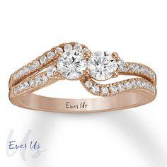 Ever Us Diamond Engagement Ring 3/4 ct tw 14K Rose Gold