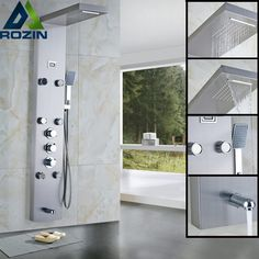 Rain Waterfall Shower Panel Massage Jets Thermostatic Shower Faucet with Hand Shower Tub Spout Tower Shower Column Bathroom Shower Panels, Shower Arm, Shower Faucet, Bathroom Fixtures, Shower Tower, Cold Shower, Rain Shower, Round Bath, Waterfall Shower