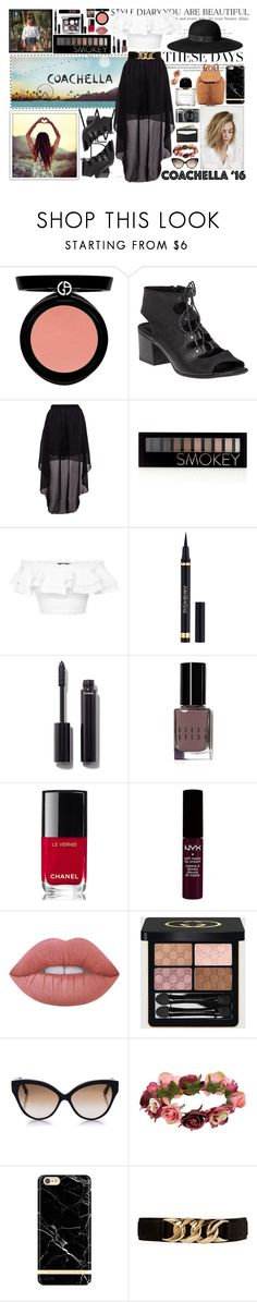 """""""Coachella!"""" by angelstylee ❤ liked on Polyvore featuring Armani Beauty, H&M, 275 Central, Forever 21, Alexander McQueen, Yves Saint Laurent, Chanel, Bobbi Brown Cosmetics, NYX and Lime Crime"""