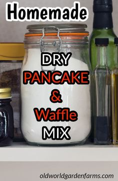 Pancake/Waffle Dry Mix Homemade Pancake, Waffle Mix Recipe - Quicker, Cheaper and Healthier than those store-bought box mixes! From Old World Garden Farms - Homemade Pancake & Waffle Mix - much healthier and cheaper than box mixes. Homemade Dry Mixes, Homemade Pancakes, Homemade Spices, Homemade Seasonings, Bisquick Mix Homemade, Homemade Waffle Mix, Homemade Ketchup, Homemade Butter, Homemade Breakfast