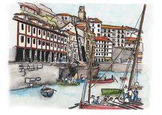 Ilustración acuarela Puerto de San Sebastián /