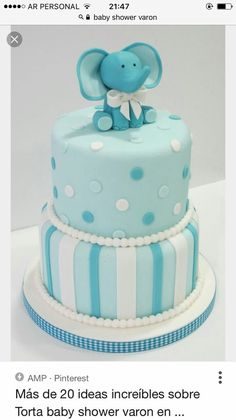Tarta Bautizo o baby shower Several Easy Babyshower Game Ideas Babyshower games thoughts are very ea Torta Baby Shower, Elephant Baby Shower Cake, Fiesta Baby Shower, Elephant Cakes, Baby Shower Cakes For Boys, Baby Boy Cakes, Baby Shower Decorations For Boys, Baby Boy Shower, Baby Elephant