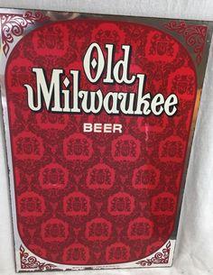 VINTAGE RARE OLD MILWAUKEE Beer RED MIRROR ~1974 JOS Schlitz Brewing Bar