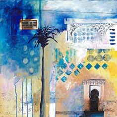 Karen Stamper - Blue Palm 50 x Paper collage and acrylic on canvas Art Journal Inspiration, Painting Inspiration, Mixed Media Collage, Collage Art, Moroccan Art, Moroccan Colors, Moroccan Pattern, Building Painting, Collages