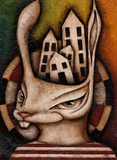 Rabbit  Lowbrow Original Mixed Media Painting by Gisellethepainter, $175.00