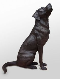 Bronze Dog sculpture by artist David Cemmick titled: 'Faithful Friend Labrador (bronze life size Black dDog sculptures/statue)'