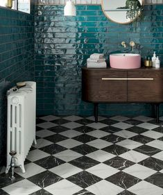 What a beautiful teal blue tile. Especially with the black and white floor and s. What a beautiful teal blue tile. Especially with the black and white floor and splash of pink sink! White Bathroom Tiles, Bathroom Tile Designs, Bathroom Interior Design, Bathroom Flooring, Modern Bathroom, Small Bathroom, Bathroom Showers, Bathroom Ideas, White Bathrooms