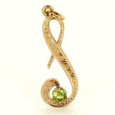 "Estate 14 Karat Yellow Gold Peridot Letter ""S"" Initial Pendant Fine Jewelry $295"