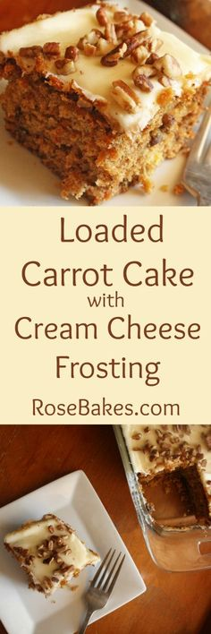 Loaded Carrot Cake with Cream Cheese Frosting - Rose Bakes Cupcake Recipes, Cupcake Cakes, Dessert Recipes, Cupcakes, Poke Cakes, Layer Cakes, Dessert Ideas, Cake With Cream Cheese, Cream Cheese Frosting