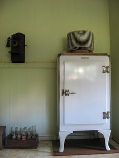 antique icebox fridge
