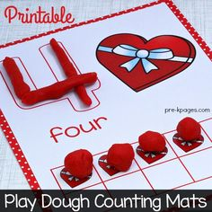 Printable Valentine Play Dough Counting Mats for Preschool and Kindergarten.