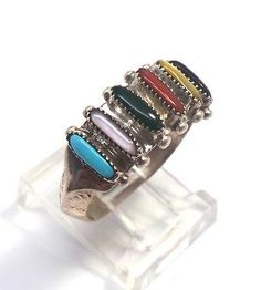 Zuni-Sterling-Silver-Multi-Stone-Needlepoint-Ring-Paloma-Size-7-5