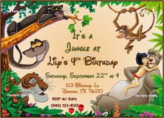 Hey, I found this really awesome Etsy listing at https://www.etsy.com/listing/109330264/jungle-book-birthday-invitation