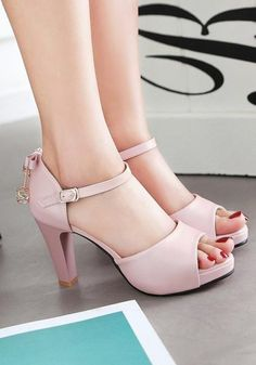 Available Sizes : Heel Height : Platform Height : Heel Height : High Heel Type : Chunky Boot Shaft : Ankle Color : Pink Toe : Round Shoe Vamp : PU Leather Closure : Slip-On/Pull-On Source by de mujer tacon High Heels Outfit, High Heels Boots, Platform High Heels, Heeled Boots, Shoes Heels, Heeled Sandals, Sandals Outfit, Shoe Vamp, Shoe Wardrobe
