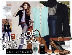 """""""The Look For Less contest denim fever style"""" by rizkadesi on Polyvore"""